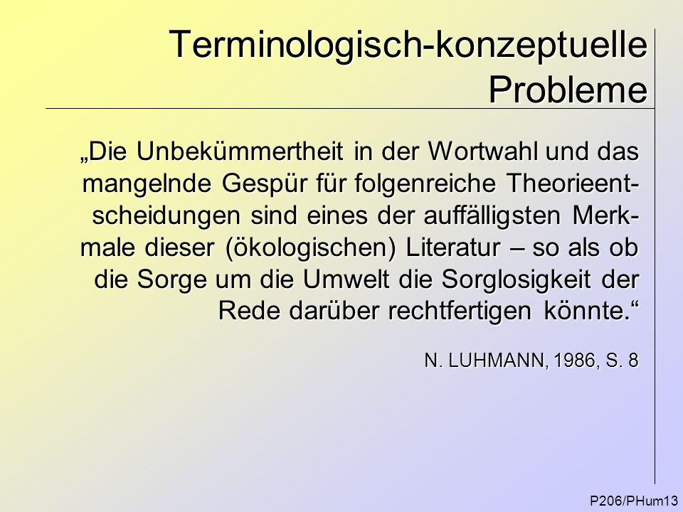 """Terminologisch-konzeptuelle Probleme P206/PHum13 """"Die Unbekümmertheit in der Wortwahl und das mangelnde Gespür für folgenreiche Theorieent- scheidunge"""