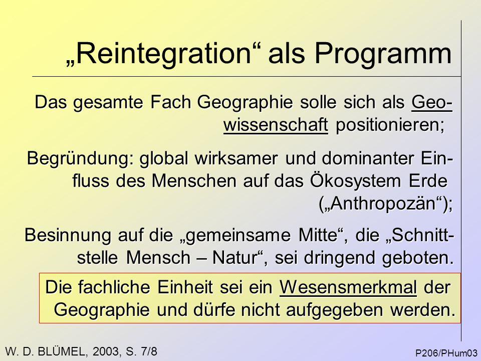 """""""Reintegration"""" als Programm P206/PHum03 Das gesamte Fach Geographie solle sich als Geo- wissenschaft positionieren; Begründung: global wirksamer und"""
