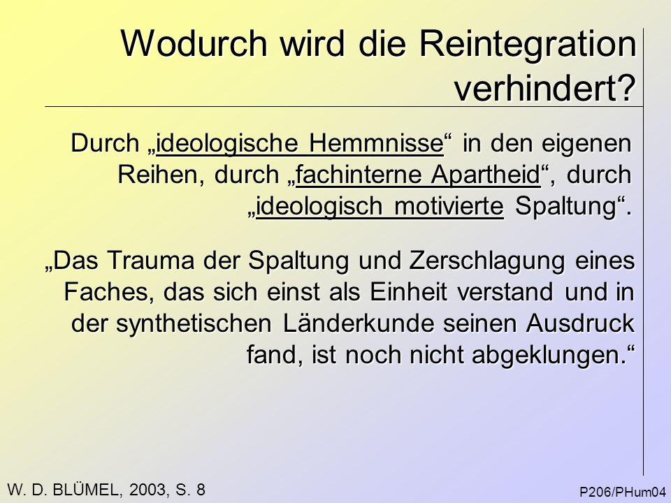 """Wodurch wird die Reintegration verhindert? P206/PHum04 Durch """"ideologische Hemmnisse"""" in den eigenen Reihen, durch """"fachinterne Apartheid"""", durch """"ide"""