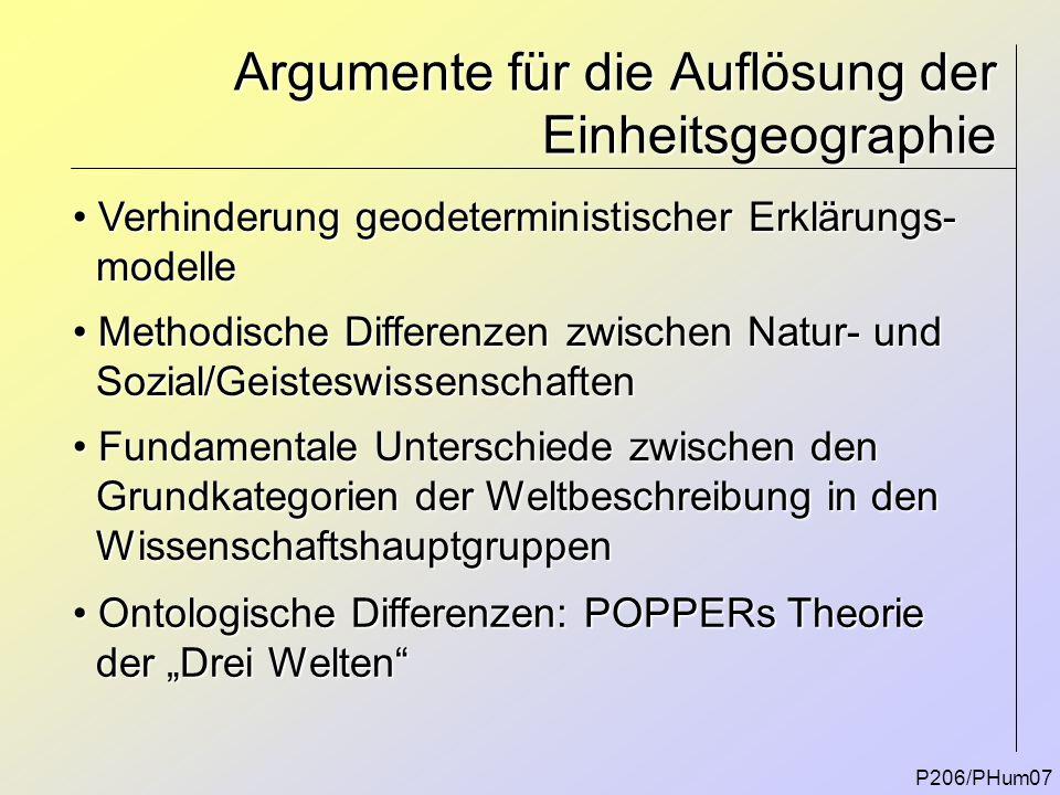 P206/PHum07 Argumente für die Auflösung der Einheitsgeographie Methodische Differenzen zwischen Natur- und Methodische Differenzen zwischen Natur- und