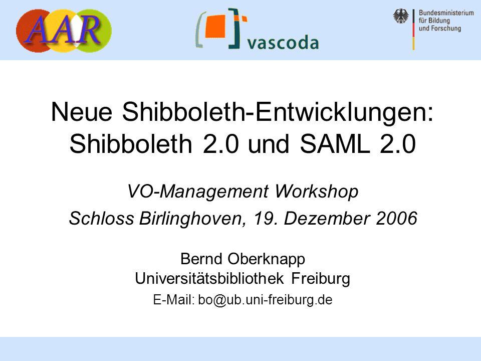 2 Bernd Oberknapp, Universitätsbibliothek Freiburg Übersicht OpenSAML 2.0 Stand der Entwicklung Shibboleth 2.0 und SAML 2.0 Konzepte: –Authentication Context –Authentication Request –Single Logout Shibboleth 2.0 Komponenten: –Identity Provider –Service Provider (C++ und Java) –Discovery Service Ausblick