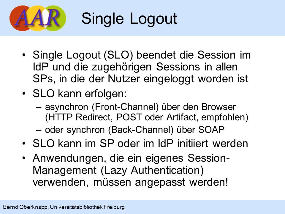 19 Bernd Oberknapp, Universitätsbibliothek Freiburg Ausblick: Shibboleth 2.1 NameID Management und Mapping SAML 2.0 angewandt auf Portale, Metasuche und Web Services (Multi-tier Anwendungen) Priorität werden Web Services (SOAP) haben Basis wird voraussichtlich Liberty ID WSF 2.0 sein, wesentliche Komponenten sind: –Delegation (modelliert über SubjectConfirmation) –SOAP Binding (WSF Security) –SAML Token Service (WSF Authentication)