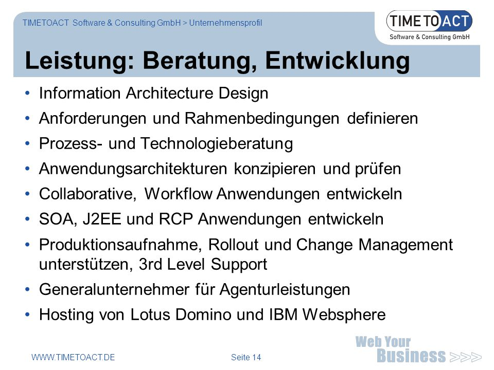 WWW.TIMETOACT.DE Seite 14 Leistung: Beratung, Entwicklung TIMETOACT Software & Consulting GmbH > Unternehmensprofil Information Architecture Design An