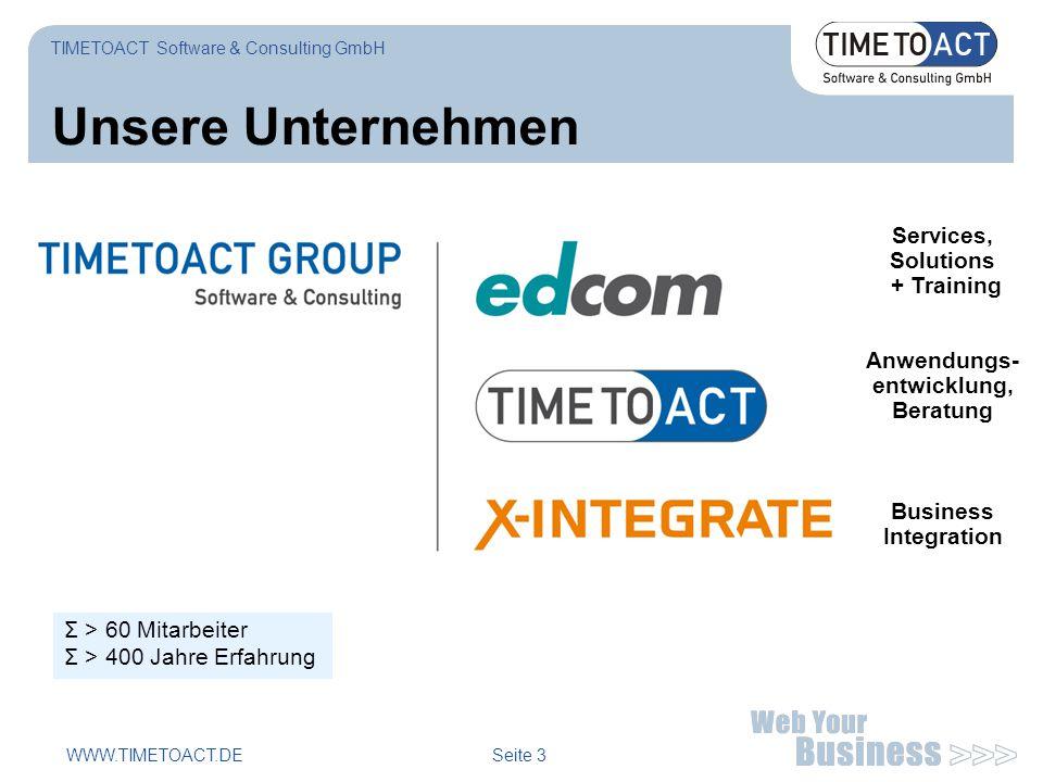 WWW.TIMETOACT.DE Seite 3 Unsere Unternehmen Σ > 60 Mitarbeiter Σ > 400 Jahre Erfahrung TIMETOACT Software & Consulting GmbH Services, Solutions + Trai