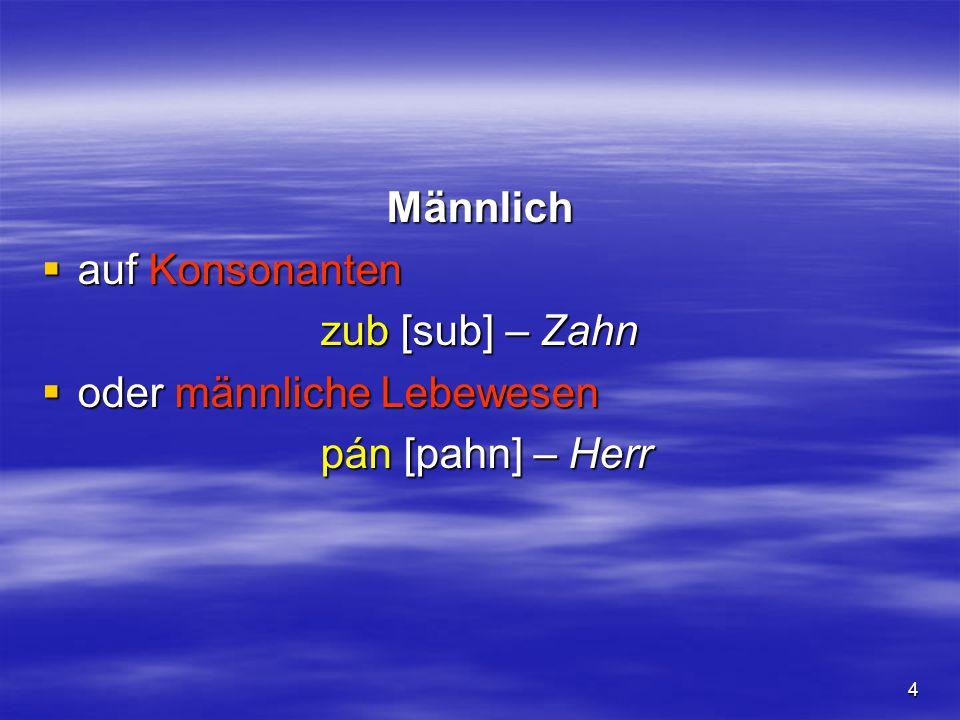 4 Männlich  auf Konsonanten zub [sub] – Zahn  oder männliche Lebewesen pán [pahn] – Herr pán [pahn] – Herr