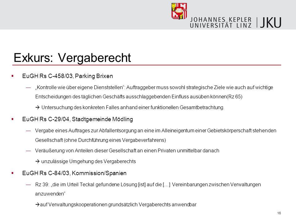 """16 Exkurs: Vergaberecht  EuGH Rs C-458/03, Parking Brixen —""""Kontrolle wie über eigene Dienststellen"""": Auftraggeber muss sowohl strategische Ziele wie"""