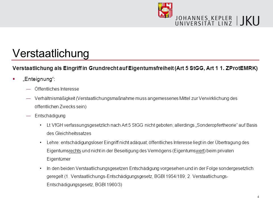 """4 Verstaatlichung Verstaatlichung als Eingriff in Grundrecht auf Eigentumsfreiheit (Art 5 StGG, Art 1 1. ZProtEMRK)  """"Enteignung"""": —Öffentliches Inte"""