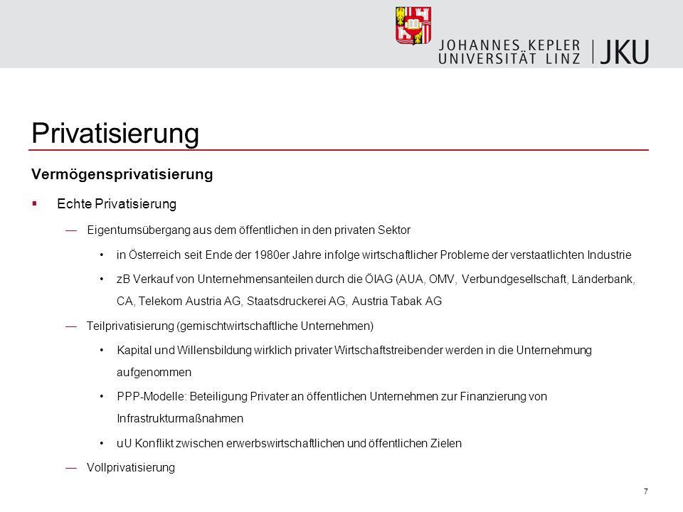7 Privatisierung Vermögensprivatisierung  Echte Privatisierung —Eigentumsübergang aus dem öffentlichen in den privaten Sektor in Österreich seit Ende