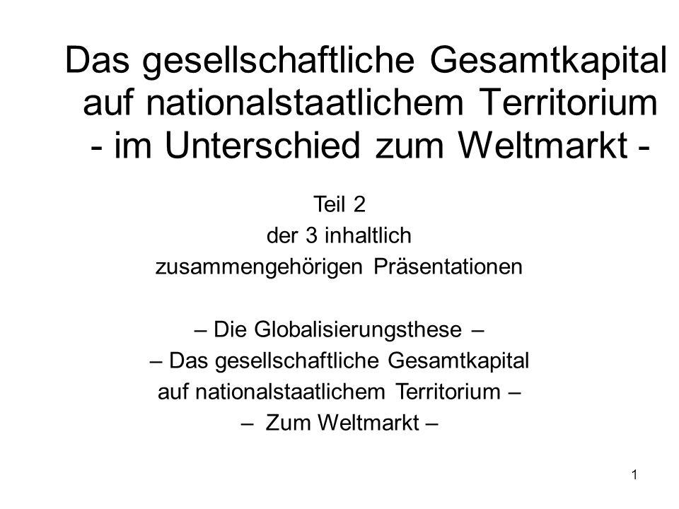 2 Diese Präsentation nähert sich dem KAPITAL als zugleich lokalem wie nationalem und globalem gesellschaftlichem Verhältnis Zu den Thesen der Globalisierungsdebatte sowie deren Kritik (Teil 1) Zur Charakteristik des gesellschaftlichen Gesamtkapitals auf nationalstaatlichem Territorium als Kreislaufwirtschaft der dortigen lokalen Einzelkapitale und im Unterschied zum Weltmarkt (Teil 2) Zum Weltmarkt als Integrationsraum sämtlicher national-territorialer Gesamtkapitale des Globus - seine Funktion und Geschichte - (Teil 3) Wesentliche Bestimmungen sind geleistet in Band I bis III DAS KAPITAL Lokale nationale Basis Lokale nationale globale Basis Ideologischer ÜBERBAU verunsicherter Bildungsbürger-Schichten