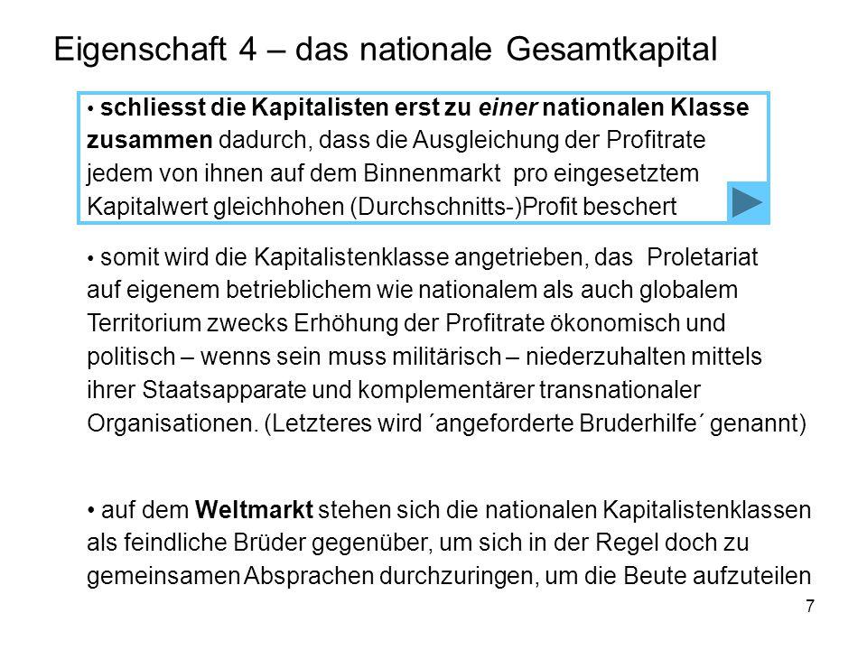 7 Eigenschaft 4 – das nationale Gesamtkapital schliesst die Kapitalisten erst zu einer nationalen Klasse zusammen dadurch, dass die Ausgleichung der Profitrate jedem von ihnen auf dem Binnenmarkt pro eingesetztem Kapitalwert gleichhohen (Durchschnitts-)Profit beschert auf dem Weltmarkt stehen sich die nationalen Kapitalistenklassen als feindliche Brüder gegenüber, um sich in der Regel doch zu gemeinsamen Absprachen durchzuringen, um die Beute aufzuteilen somit wird die Kapitalistenklasse angetrieben, das Proletariat auf eigenem betrieblichem wie nationalem als auch globalem Territorium zwecks Erhöhung der Profitrate ökonomisch und politisch – wenns sein muss militärisch – niederzuhalten mittels ihrer Staatsapparate und komplementärer transnationaler Organisationen.