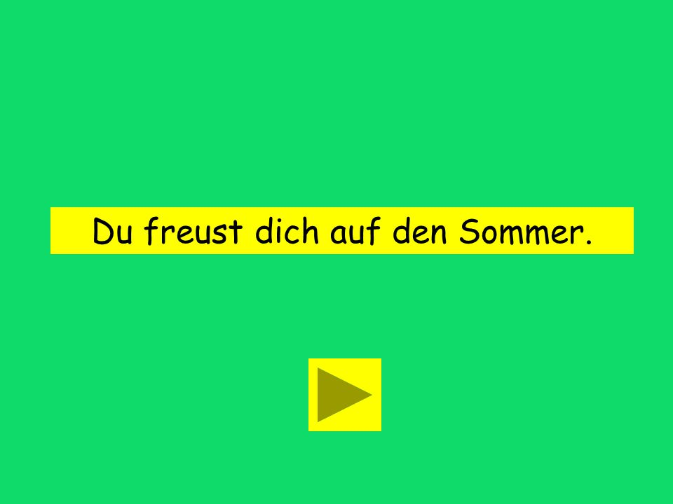 You are looking forward to the summer. Du freust dir auf den Sommer. Du freust dich auf den Sommer.