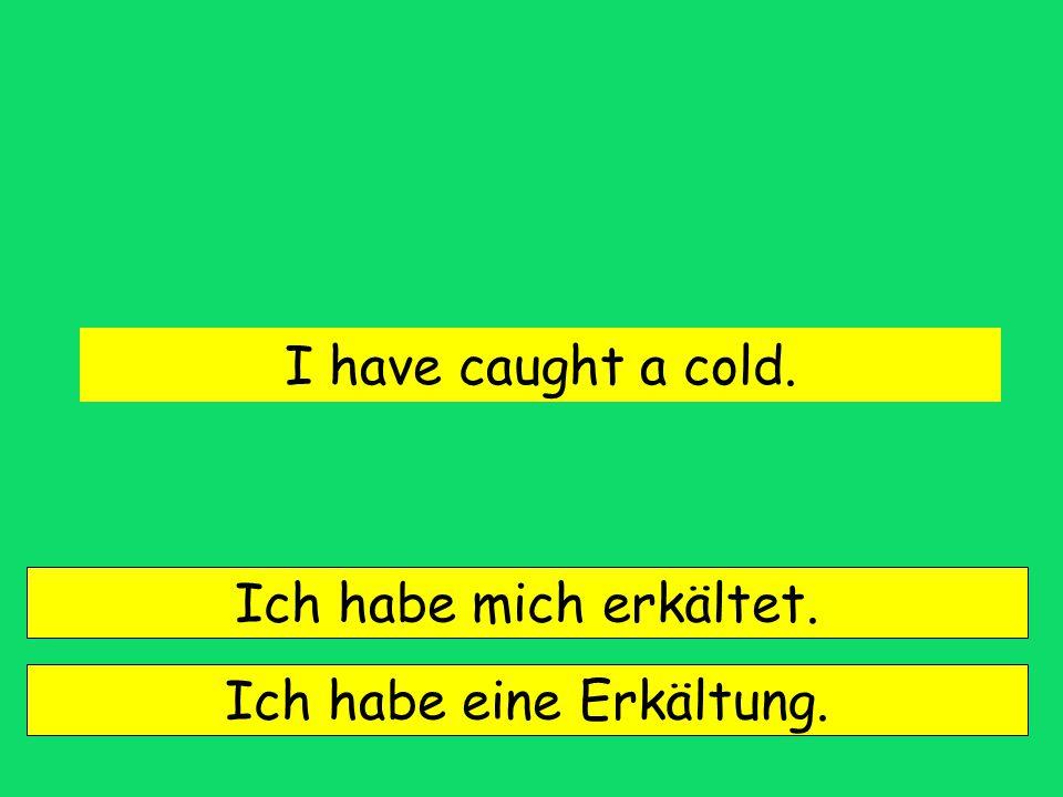 I have caught a cold. Ich habe mich erkältet. Ich habe eine Erkältung.