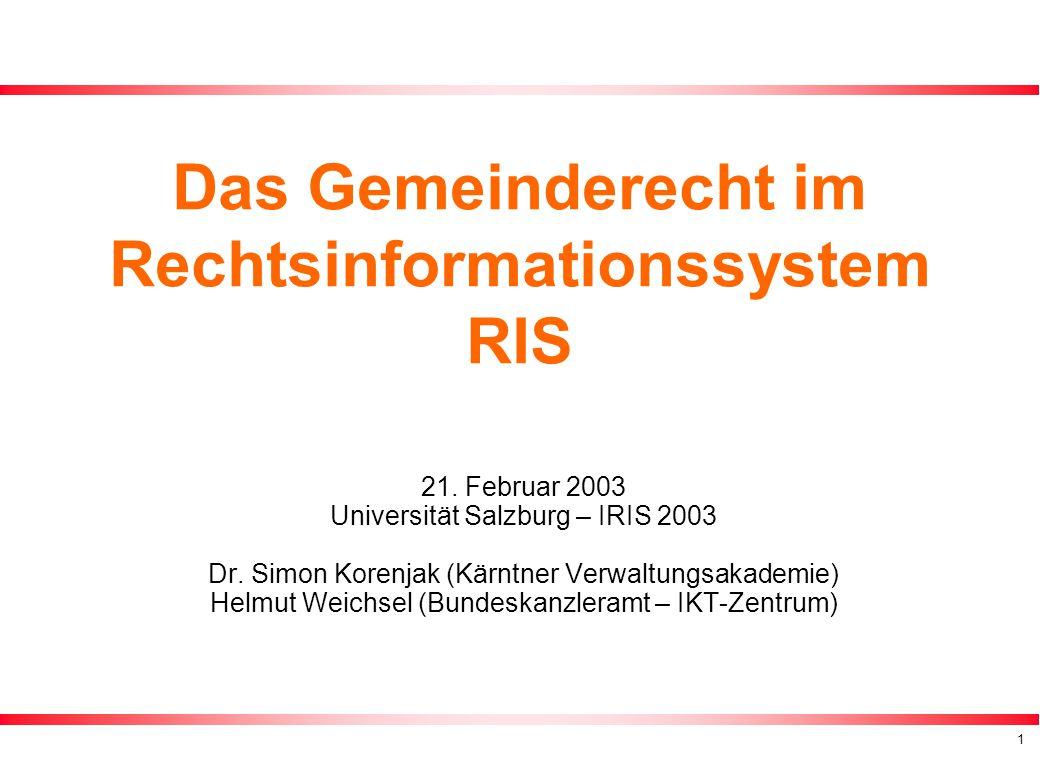 1 Das Gemeinderecht im Rechtsinformationssystem RIS 21.