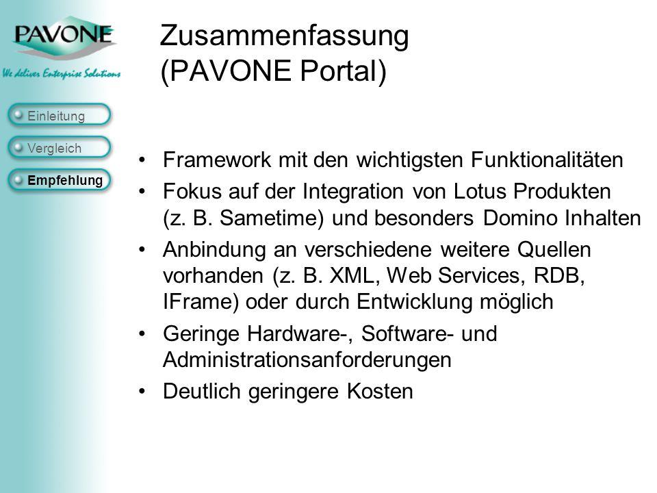 Zusammenfassung (PAVONE Portal) Framework mit den wichtigsten Funktionalitäten Fokus auf der Integration von Lotus Produkten (z.