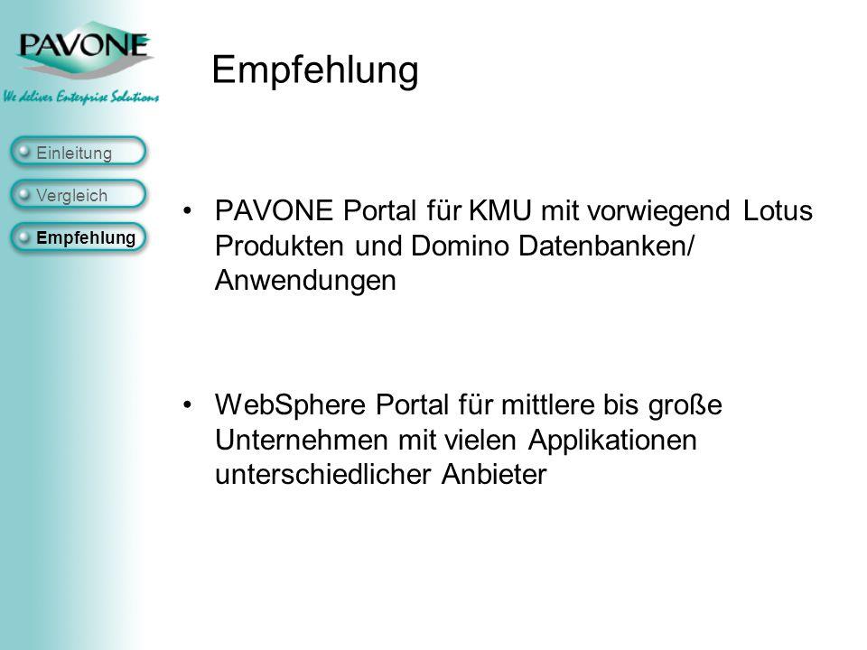 PAVONE Portal für KMU mit vorwiegend Lotus Produkten und Domino Datenbanken/ Anwendungen WebSphere Portal für mittlere bis große Unternehmen mit vielen Applikationen unterschiedlicher Anbieter Einleitung Vergleich Empfehlung