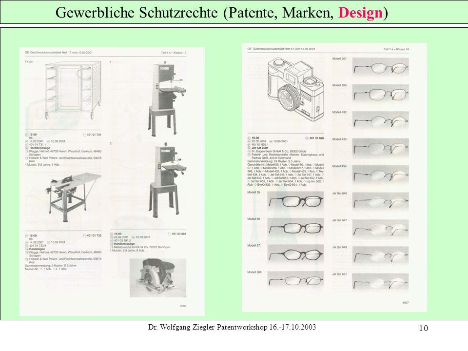 Dr. Wolfgang Ziegler Patentworkshop 16.-17.10.2003 10 Gewerbliche Schutzrechte (Patente, Marken, Design)