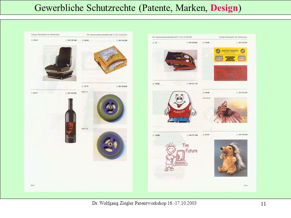 Dr. Wolfgang Ziegler Patentworkshop 16.-17.10.2003 11 Gewerbliche Schutzrechte (Patente, Marken, Design)