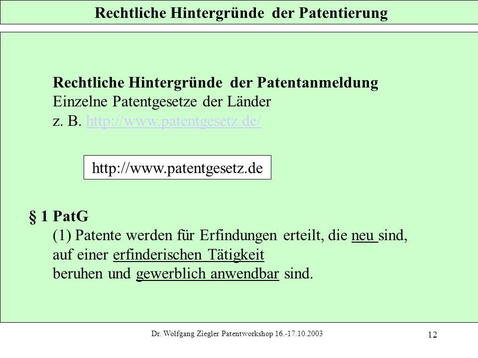 Dr. Wolfgang Ziegler Patentworkshop 16.-17.10.2003 12 Rechtliche Hintergründe der Patentierung Rechtliche Hintergründe der Patentanmeldung Einzelne Pa