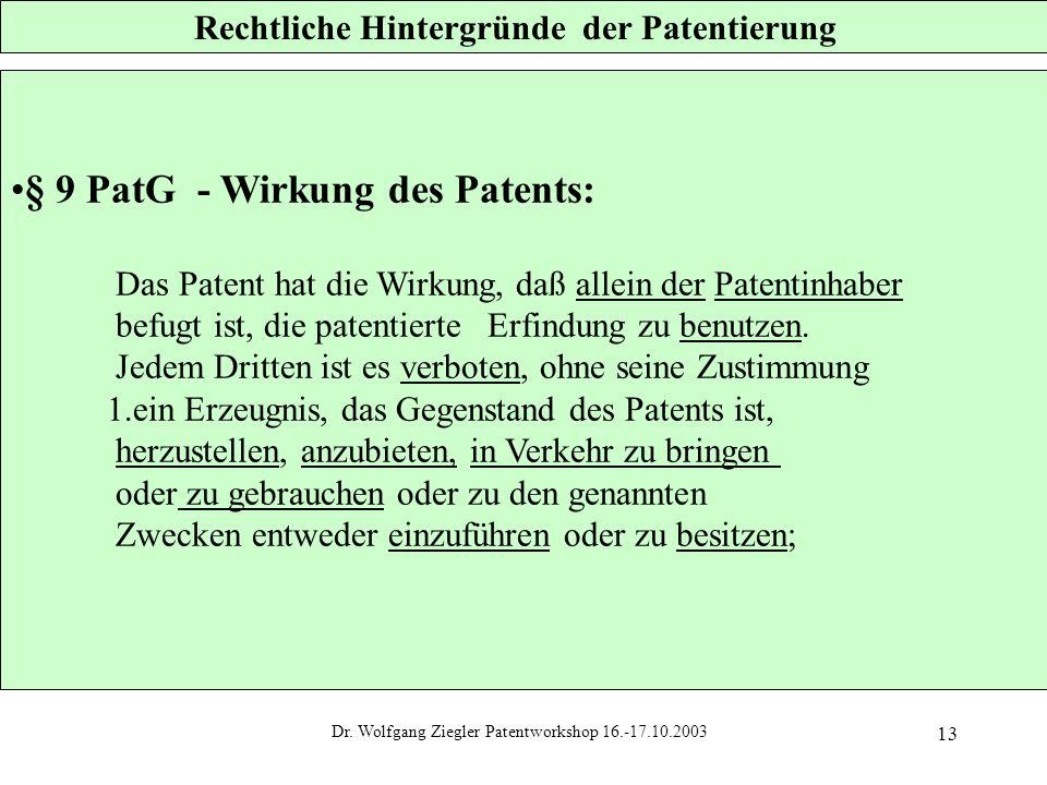 Dr. Wolfgang Ziegler Patentworkshop 16.-17.10.2003 13 Rechtliche Hintergründe der Patentierung § 9 PatG - Wirkung des Patents: Das Patent hat die Wirk