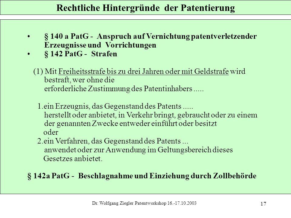 Dr. Wolfgang Ziegler Patentworkshop 16.-17.10.2003 17 Rechtliche Hintergründe der Patentierung § 140 a PatG - Anspruch auf Vernichtung patentverletzen