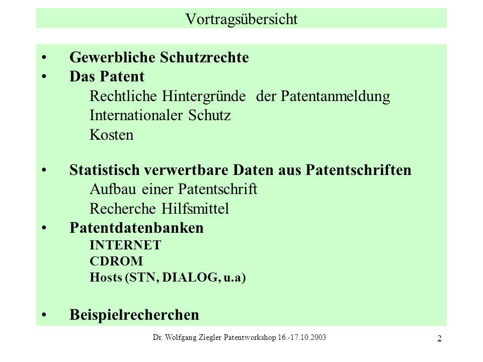 Dr. Wolfgang Ziegler Patentworkshop 16.-17.10.2003 2 Vortragsübersicht Gewerbliche Schutzrechte Das Patent Rechtliche Hintergründe der Patentanmeldung
