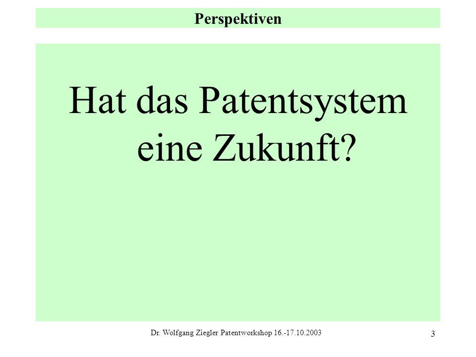 Dr. Wolfgang Ziegler Patentworkshop 16.-17.10.2003 3 Perspektiven Hat das Patentsystem eine Zukunft?