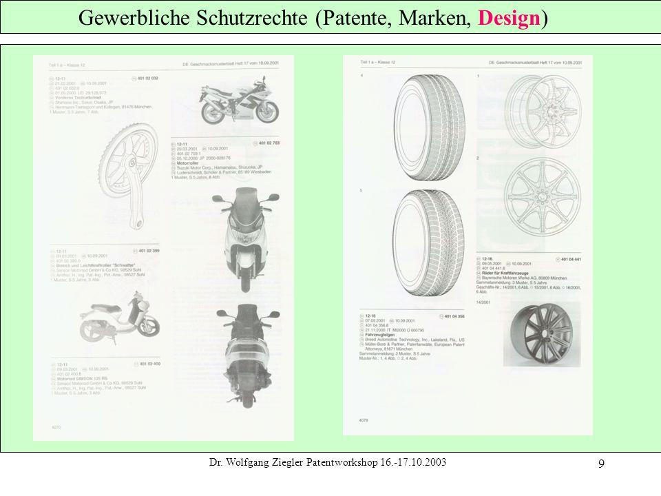 Dr. Wolfgang Ziegler Patentworkshop 16.-17.10.2003 9 Gewerbliche Schutzrechte (Patente, Marken, Design)