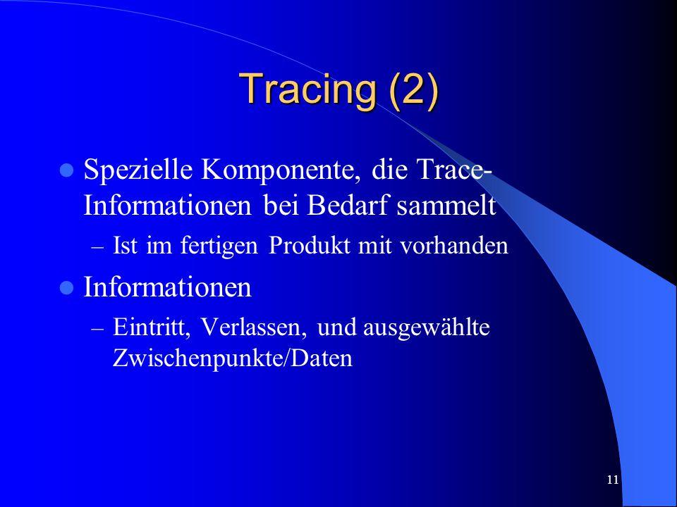 11 Tracing (2) Spezielle Komponente, die Trace- Informationen bei Bedarf sammelt – Ist im fertigen Produkt mit vorhanden Informationen – Eintritt, Verlassen, und ausgewählte Zwischenpunkte/Daten