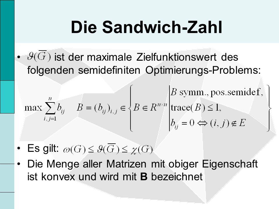 Die Sandwich-Zahl ist der maximale Zielfunktionswert des folgenden semidefiniten Optimierungs-Problems: Es gilt: Die Menge aller Matrizen mit obiger Eigenschaft ist konvex und wird mit B bezeichnet
