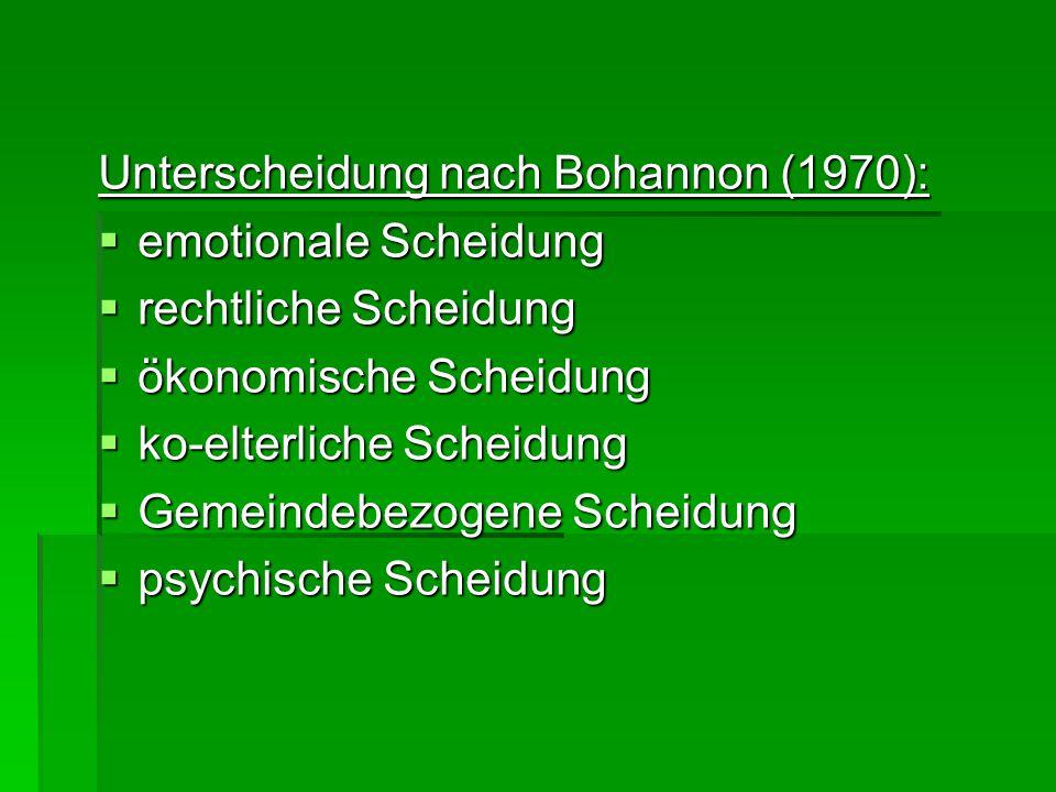 Unterscheidung nach Bohannon (1970):  emotionale Scheidung  rechtliche Scheidung  ökonomische Scheidung  ko-elterliche Scheidung  Gemeindebezogene Scheidung  psychische Scheidung