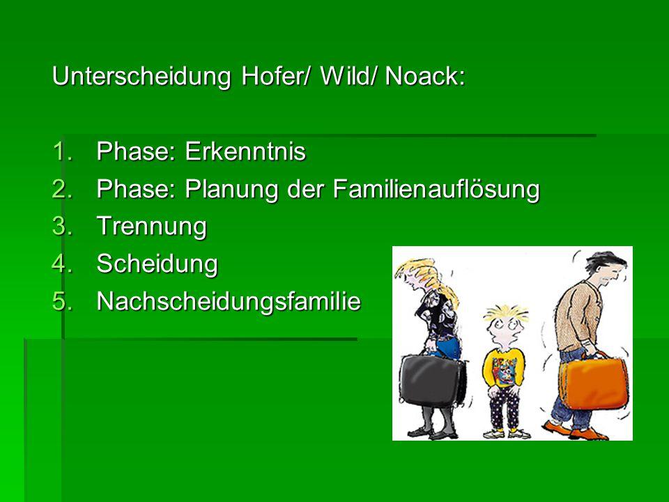 Unterscheidung Hofer/ Wild/ Noack: 1.Phase: Erkenntnis 2.Phase: Planung der Familienauflösung 3.Trennung 4.Scheidung 5.Nachscheidungsfamilie