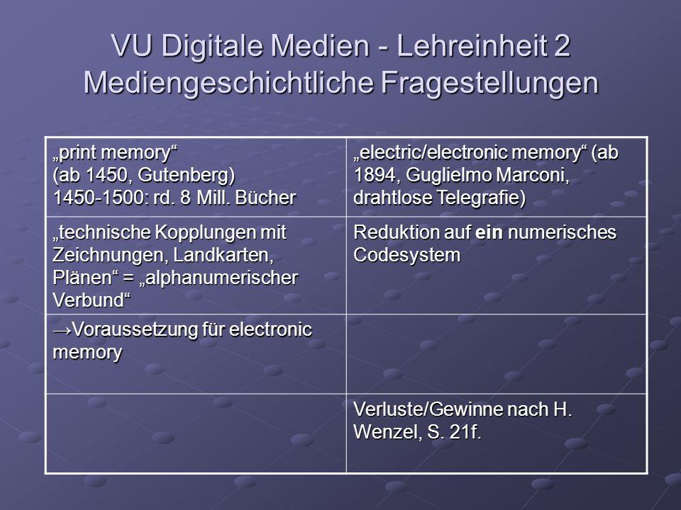 """VU Digitale Medien - Lehreinheit 2 Mediengeschichtliche Fragestellungen """"print memory (ab 1450, Gutenberg) 1450-1500: rd."""