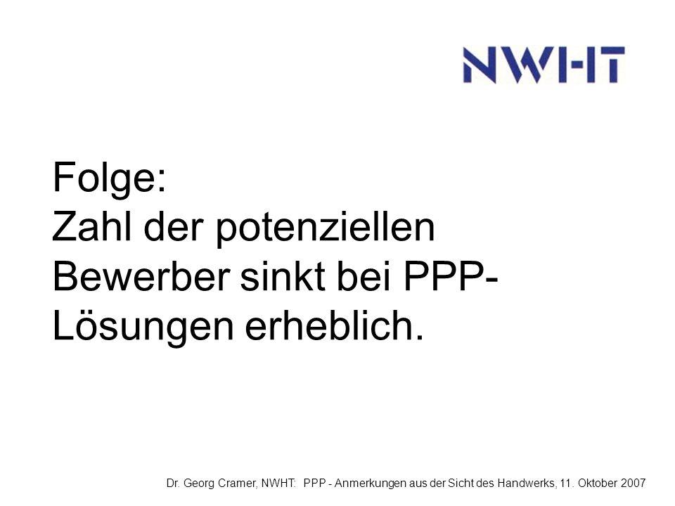Folge: Zahl der potenziellen Bewerber sinkt bei PPP- Lösungen erheblich.