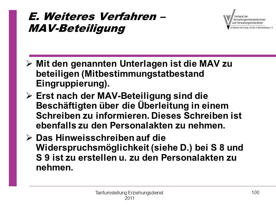 E. Weiteres Verfahren – MAV-Beteiligung   Mit den genannten Unterlagen ist die MAV zu beteiligen (Mitbestimmungstatbestand Eingruppierung).   Erst