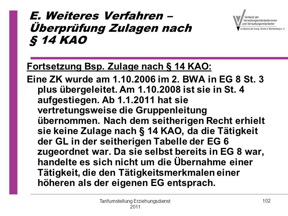 E. Weiteres Verfahren – Überprüfung Zulagen nach § 14 KAO Fortsetzung Bsp. Zulage nach § 14 KAO: Eine ZK wurde am 1.10.2006 im 2. BWA in EG 8 St. 3 pl