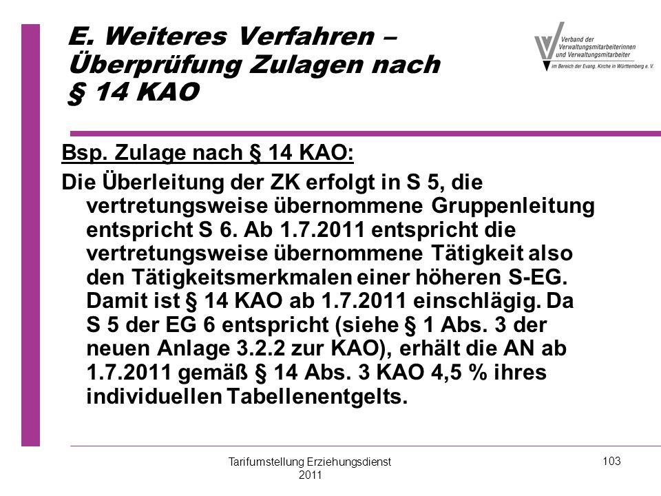 E. Weiteres Verfahren – Überprüfung Zulagen nach § 14 KAO Bsp. Zulage nach § 14 KAO: Die Überleitung der ZK erfolgt in S 5, die vertretungsweise übern