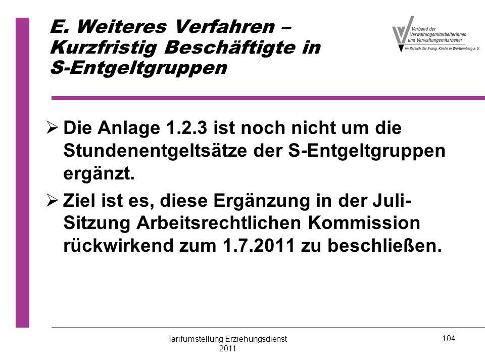 E. Weiteres Verfahren – Kurzfristig Beschäftigte in S-Entgeltgruppen   Die Anlage 1.2.3 ist noch nicht um die Stundenentgeltsätze der S-Entgeltgrupp