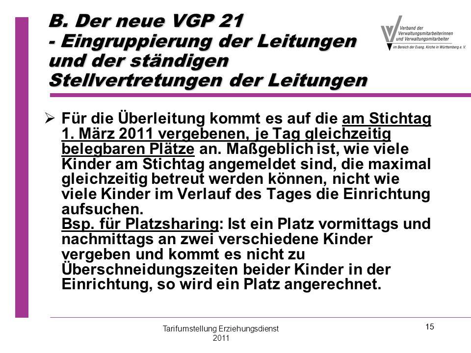 15 B. Der neue VGP 21 - Eingruppierung der Leitungen und der ständigen Stellvertretungen der Leitungen   Für die Überleitung kommt es auf die am Sti