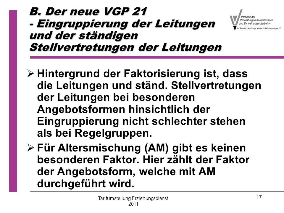 17 B. Der neue VGP 21 - Eingruppierung der Leitungen und der ständigen Stellvertretungen der Leitungen   Hintergrund der Faktorisierung ist, dass di