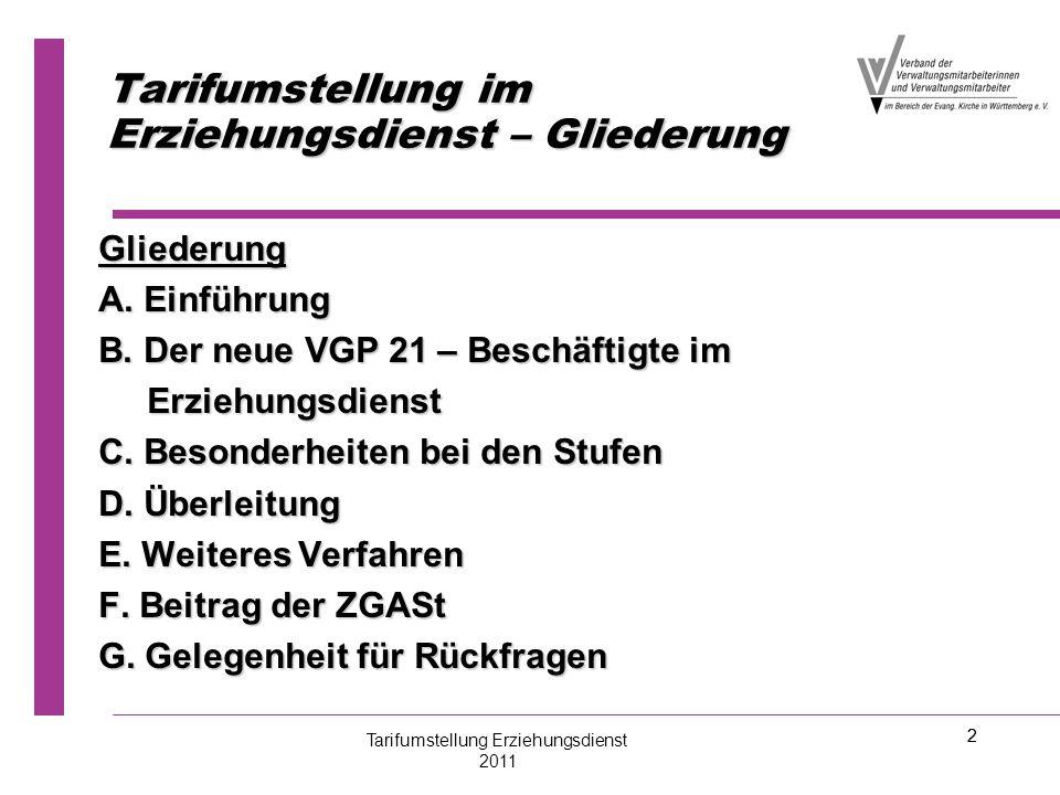 2 Tarifumstellung im Erziehungsdienst – Gliederung Gliederung A. Einführung B. Der neue VGP 21 – Beschäftigte im Erziehungsdienst Erziehungsdienst C.