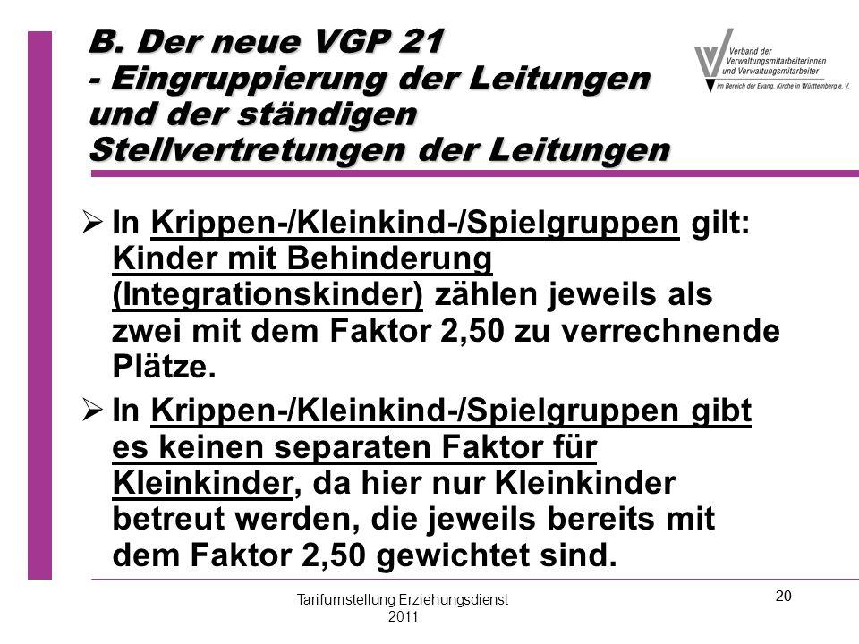 20 B. Der neue VGP 21 - Eingruppierung der Leitungen und der ständigen Stellvertretungen der Leitungen   In Krippen-/Kleinkind-/Spielgruppen gilt: K