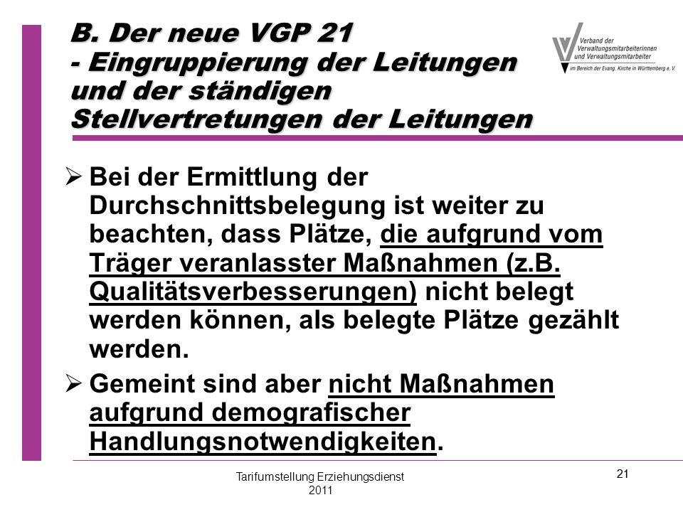 21 B. Der neue VGP 21 - Eingruppierung der Leitungen und der ständigen Stellvertretungen der Leitungen   Bei der Ermittlung der Durchschnittsbelegun