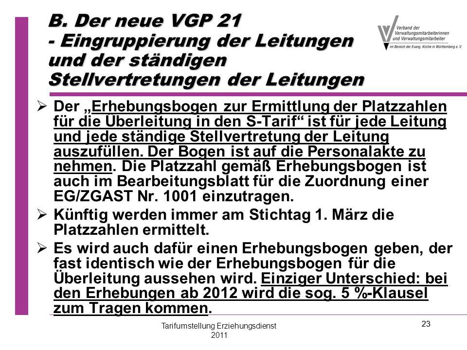 """23 B. Der neue VGP 21 - Eingruppierung der Leitungen und der ständigen Stellvertretungen der Leitungen   Der """"Erhebungsbogen zur Ermittlung der Plat"""