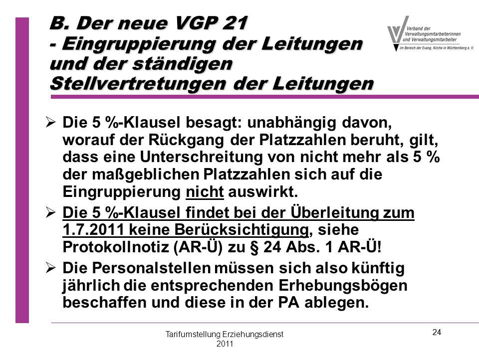 24 B. Der neue VGP 21 - Eingruppierung der Leitungen und der ständigen Stellvertretungen der Leitungen   Die 5 %-Klausel besagt: unabhängig davon, w
