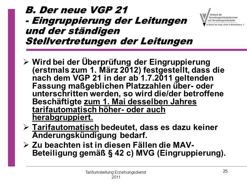 25 B. Der neue VGP 21 - Eingruppierung der Leitungen und der ständigen Stellvertretungen der Leitungen   Wird bei der Überprüfung der Eingruppierung