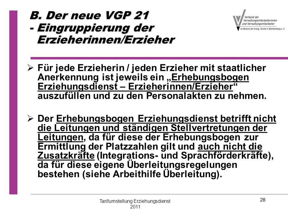 28 B. Der neue VGP 21 - Eingruppierung der Erzieherinnen/Erzieher   Für jede Erzieherin / jeden Erzieher mit staatlicher Anerkennung ist jeweils ein