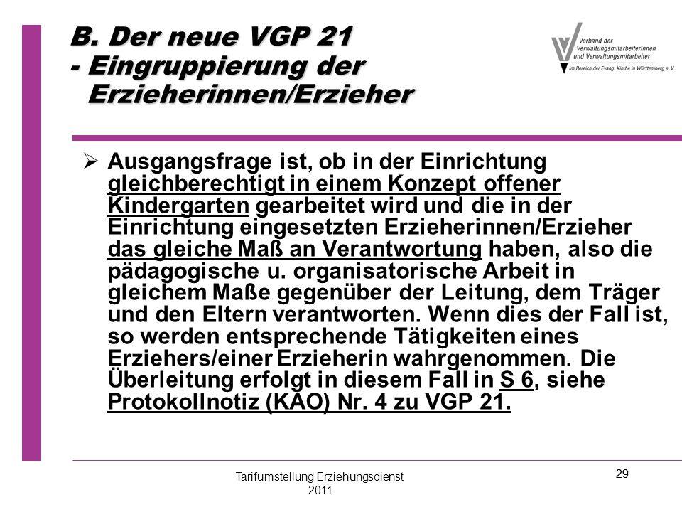 29 B. Der neue VGP 21 - Eingruppierung der Erzieherinnen/Erzieher   Ausgangsfrage ist, ob in der Einrichtung gleichberechtigt in einem Konzept offen