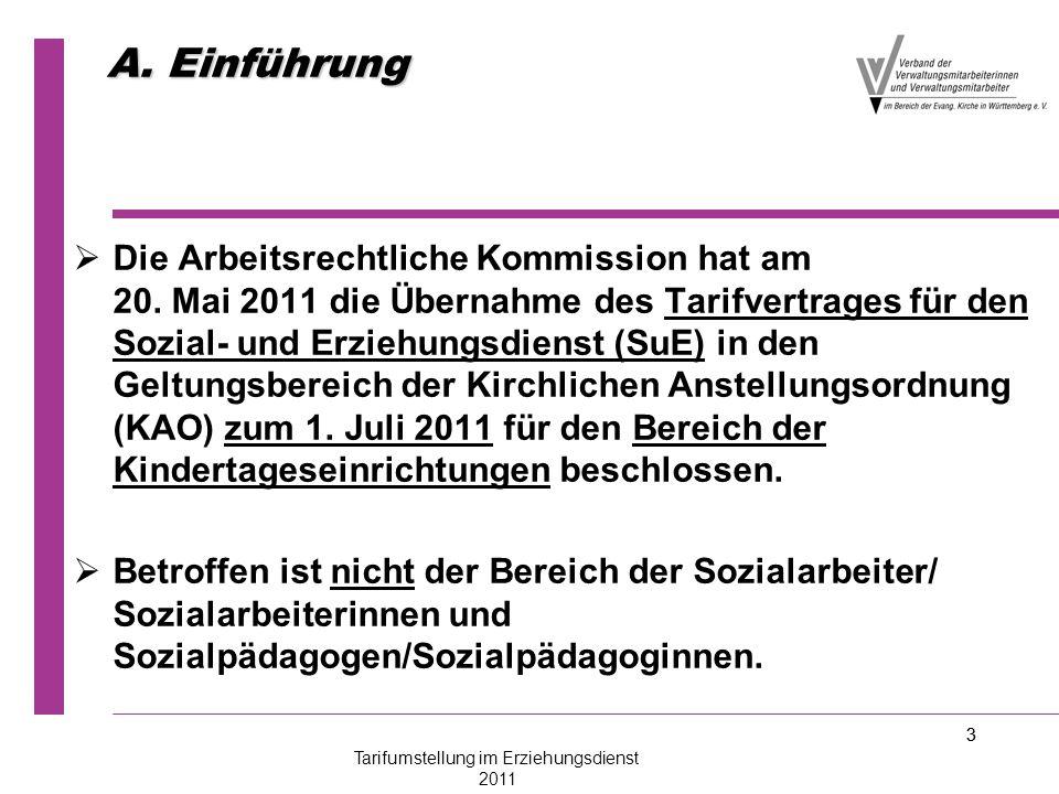 3 A. Einführung   Die Arbeitsrechtliche Kommission hat am 20. Mai 2011 die Übernahme des Tarifvertrages für den Sozial- und Erziehungsdienst (SuE) i