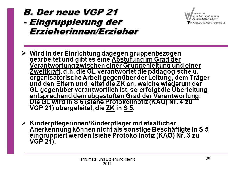 30 B. Der neue VGP 21 - Eingruppierung der Erzieherinnen/Erzieher   Wird in der Einrichtung dagegen gruppenbezogen gearbeitet und gibt es eine Abstu