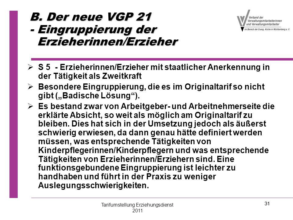 31 B. Der neue VGP 21 - Eingruppierung der Erzieherinnen/Erzieher   S 5 - Erzieherinnen/Erzieher mit staatlicher Anerkennung in der Tätigkeit als Zw